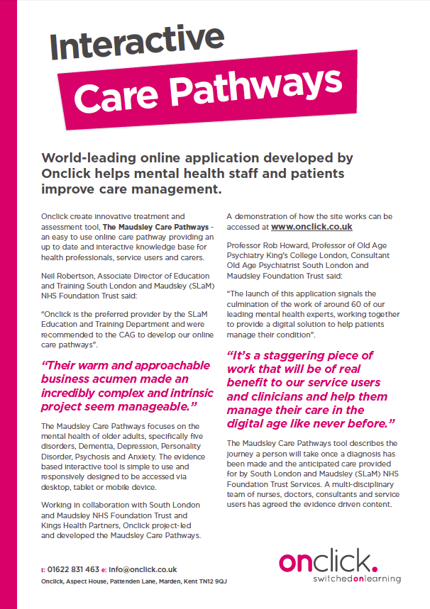 Onclick Press Release - Interactive Care Pathways