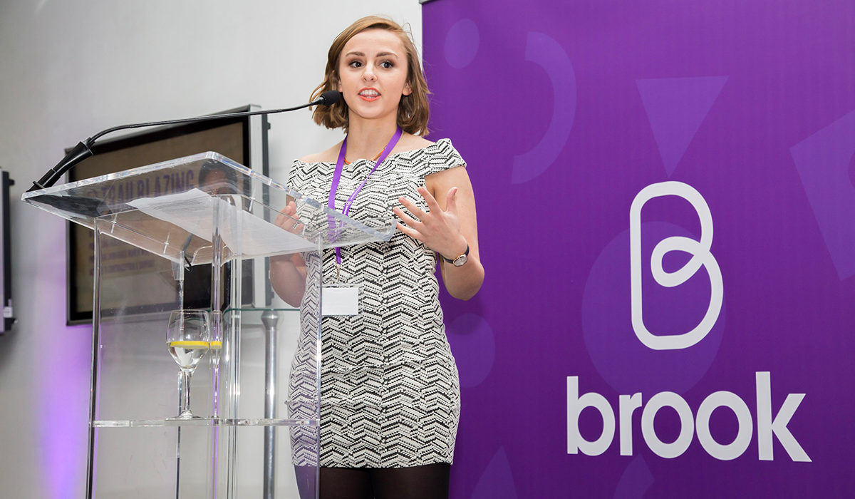 Sex Ed vlogger Hannah Witton speaking at Brook brand relaunch