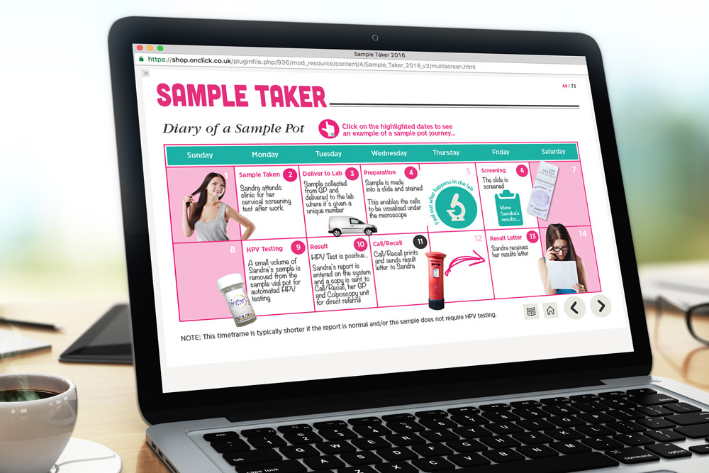 Sample Taker Cervical Screening Elearning Screenshot - Interactive Diary
