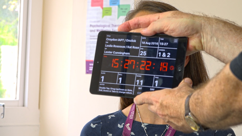 Screenshot from filming at Croydon IAPT for promotional videos about the mental health service