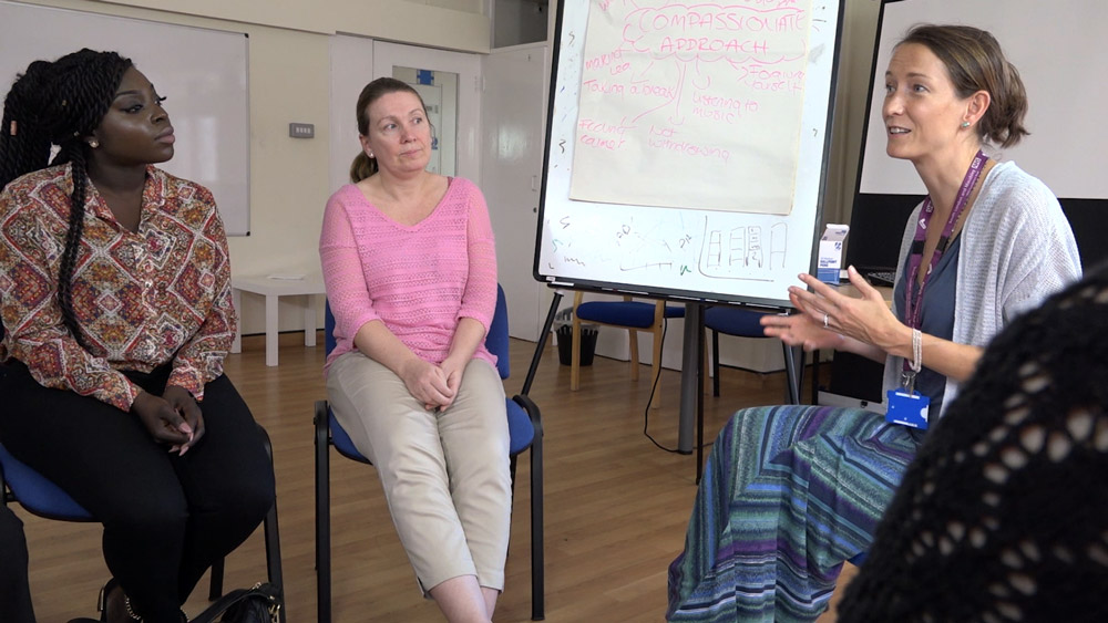 Screenshot from Croydon IAPT promotional videos about group treatment and workshops