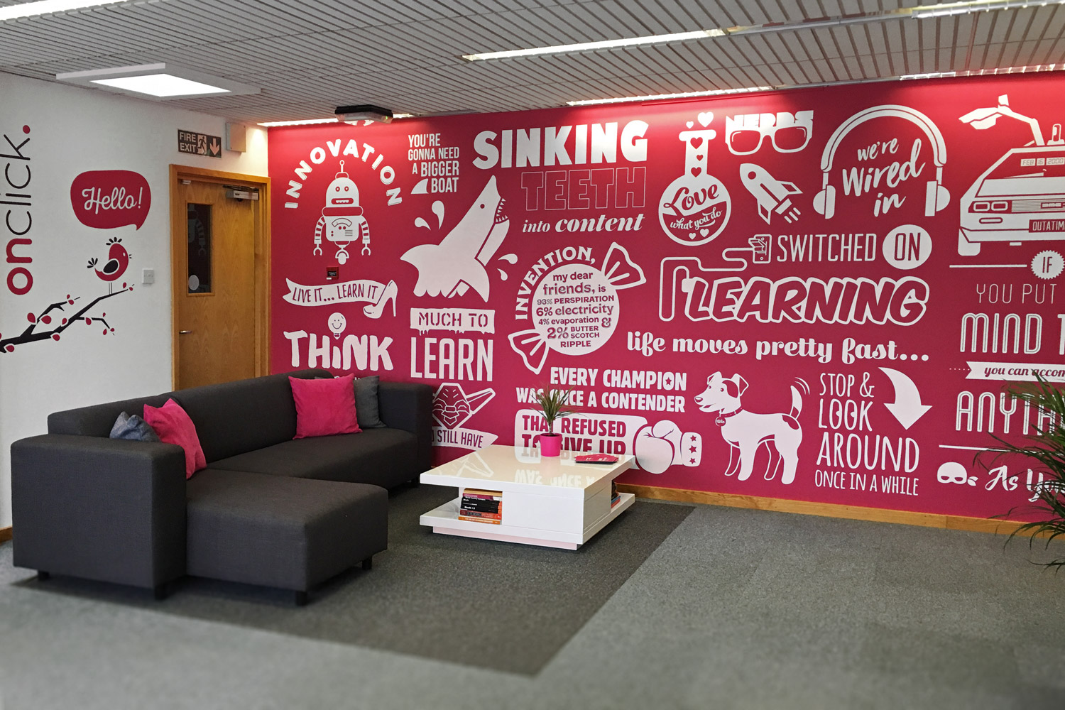 Get In Touch To Book Your Next Meeting At Onclick HQ And Discuss Your  Creative Learning Ideas With Us. Building The Onclick Office Wall Mural